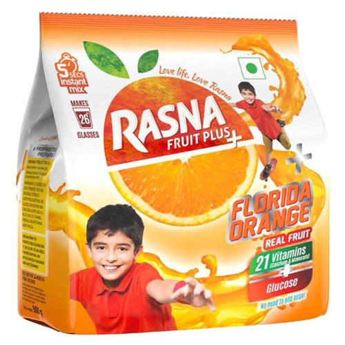 RASNA FRUIT PLUS ORANGE 500GM.